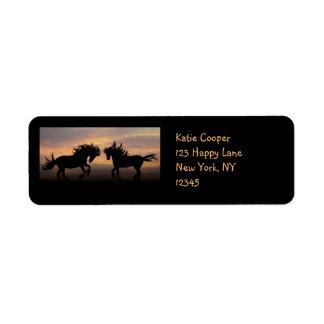 Wild Horses Silhouette Label