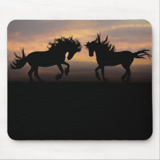 Wild Horses Silhouette Mouse Pad