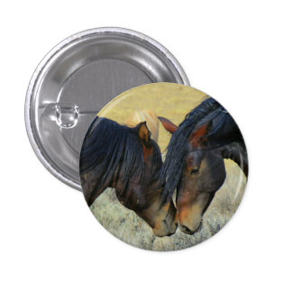 Wild Horses Touching Noses Button