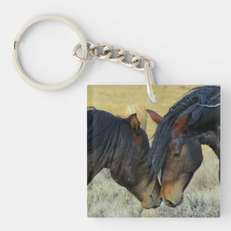 Wild Horses Touching Noses Keychain