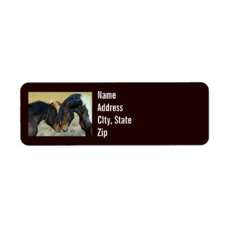 Wild Horses Touching Noses Western Address Labels