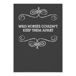 Wild Horses Vintage Chalkboard Wedding Card