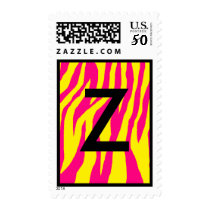 Wild Hot Pink & Yellow Zebra Postage