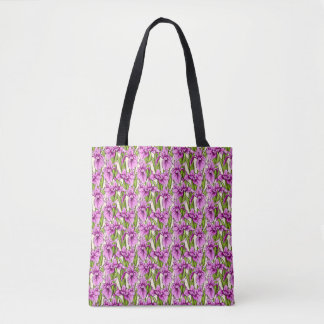 Wild Iris Pattern Fuchsia on Pale Yellow Tote Bag