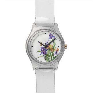 Wild Irises - from Watercolor Painting w Hour Dots Wristwatch