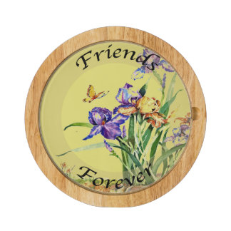 Wild Irises in Watercolor - Friends Forever Cheese Platter