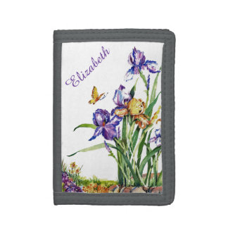 Wild Irises - Personalized with Your Name Tri-fold Wallet