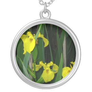 Wild irises round pendant necklace