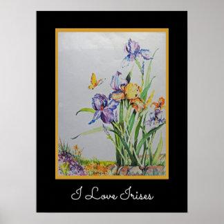 Wild Irises with Customizable Text Poster