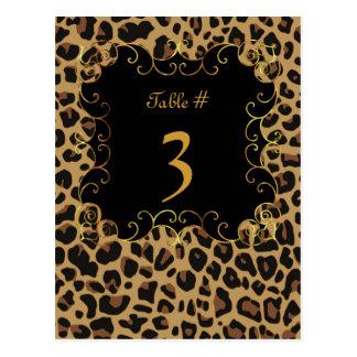 Wild Jaguar Print Wedding Table Number Card Postcard