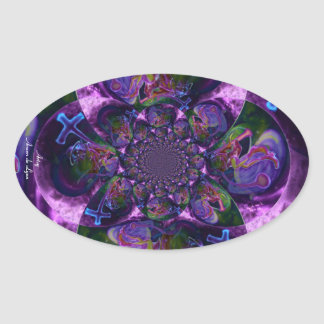 Wild Kaleidoscope Saturn Oval Sticker