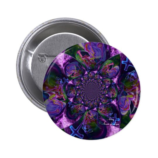 Wild Kaleidoscope Saturn Pinback Button