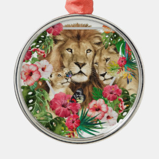 Wild King Jungle Lion Animals Metal Ornament
