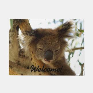 Wild koala sleeping on eucalyptus tree, Photo Doormat