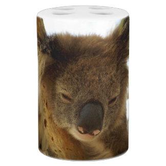 Wild koala sleeping on eucalyptus tree, Photo Soap Dispenser & Toothbrush Holder