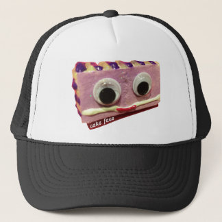 wild lavender cake face with logo trucker hat