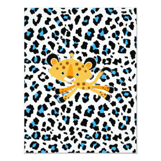 wild leopard blue baby shower invitations! card