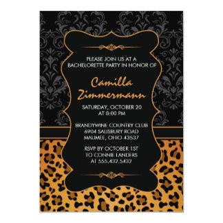 Wild Leopard & Fancy Damask Bachelorette Party Card