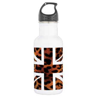 Wild Leopard Fur Pattern Jack British(UK) Flag 18oz Water Bottle