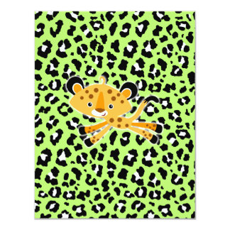 wild leopard green baby shower invitations! card