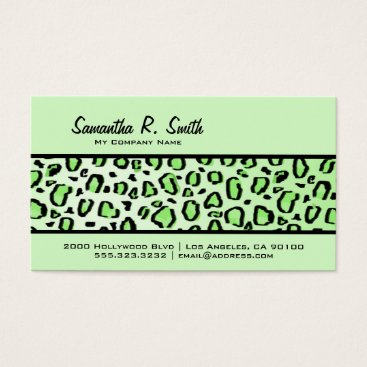 Professional Business Wild Leopard Print Stripe Mint Green Business Card