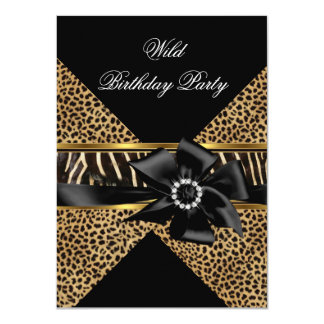 Wild Leopard Zebra Black Bow Gold Birthday Party Card