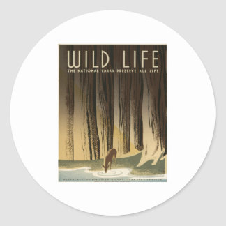 Wild Life National Parks Preserve All Life1940 Classic Round Sticker