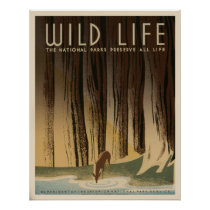 Wild Life The National Parks WPA Vintage Poster