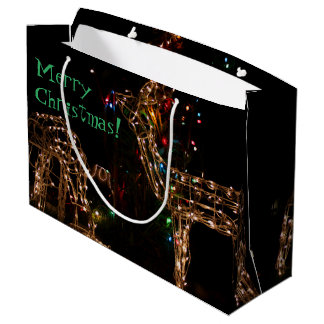 Wild Lighted Deer Photography Christmas Holidays Large Gift Bag