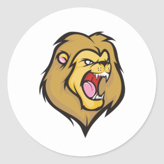 Wild Lion Cartoon Style Classic Round Sticker