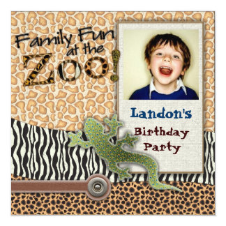 Wild Lizzard Safari Zoo Birthday Photo Invitation