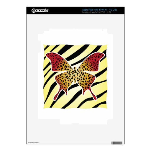 Wild Looking Butterfly Tattoo Skin For iPad 3