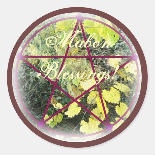 Wild Mabon Autumn Equinox Pentacle Classic Round Sticker