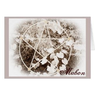 Wild Mabon Autumn Equinox Pentacle Sepia Greeting Card