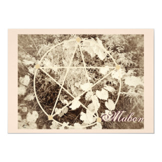 "Wild Mabon Autumn Equinox Pentacle Sepia 5"" X 7"" Invitation Card"