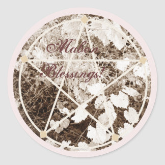 Wild Mabon Autumn Equinox Pentacle Sepia Round Stickers
