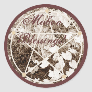 Wild Mabon Autumn Equinox Pentacle Sepia* Stickers