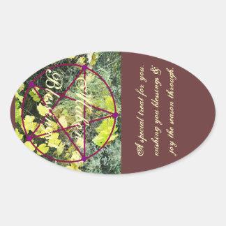 Wild Mabon Autumn Equinox Pentacle Treat Bag* Oval Sticker