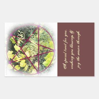 Wild Mabon Autumn Equinox Pentacle Treat Bag Rectangle Stickers