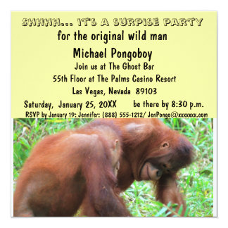 Wild Man Surprise Birthday Party 5.25x5.25 Square Paper Invitation Card