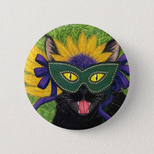 Wild Mardi Gras Cat Party New Orleans Mask Art But Button