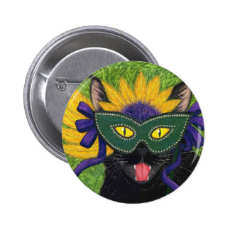 Wild Mardi Gras Cat Party New Orleans Mask Art But Button