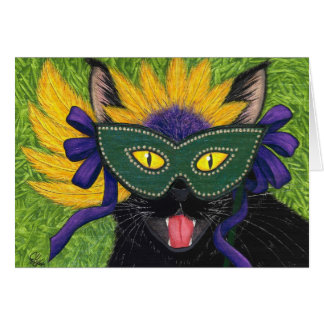 Wild Mardi Gras Cat Party New Orleans Mask Art Car Greeting Card