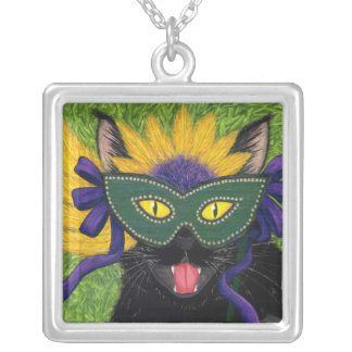 Wild Mardi Gras Cat Party New Orleans Mask Art Nec Silver Plated Necklace