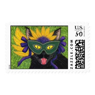 Wild Mardi Gras Cat Party New Orleans Mask Art Pos Postage