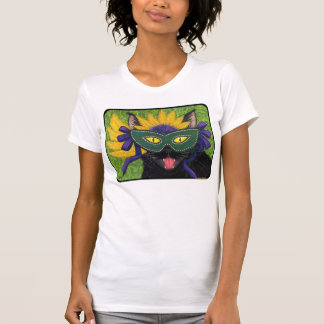 Wild Mardi Gras Cat Party New Orleans Mask Art Shi T Shirts