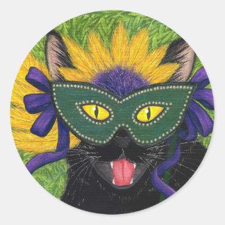 Wild Mardi Gras Cat Party New Orleans Mask Art Sti Classic Round Sticker