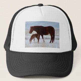 Wild Mare with Baby in Utah Desert in Winter Trucker Hat
