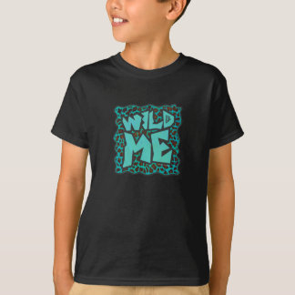 Wild Me Brown and Teal Leopard Design T-Shirt