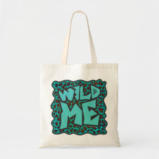Wild Me Brown and Teal Leopard Design Tote Bag